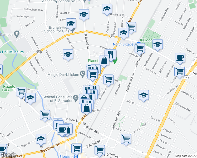 map of restaurants, bars, coffee shops, grocery stores, and more near 1241-1299 Fairmount Ave in Elizabeth