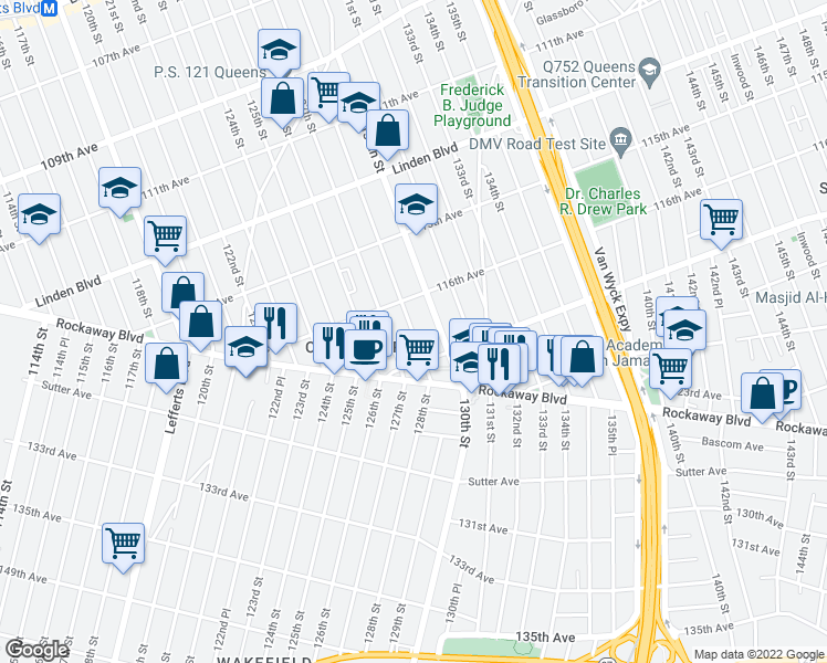 map of restaurants, bars, coffee shops, grocery stores, and more near 128th St in Queens
