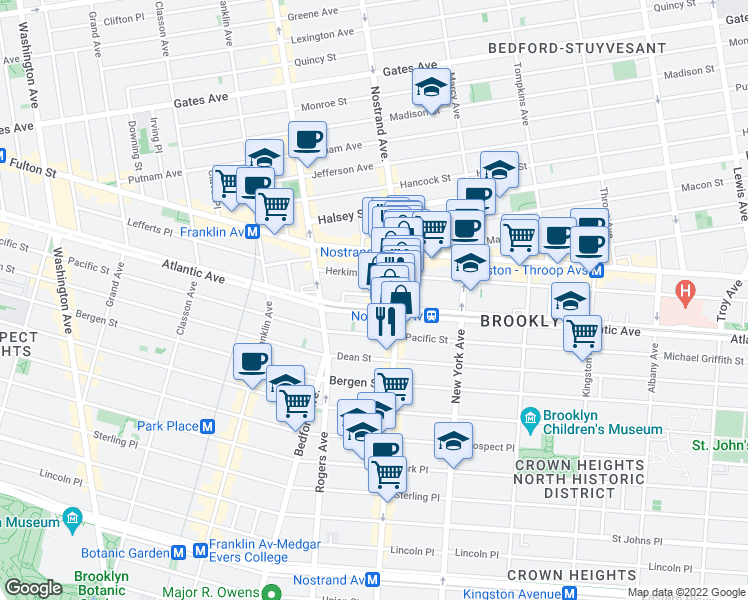 map of restaurants, bars, coffee shops, grocery stores, and more near in Brooklyn