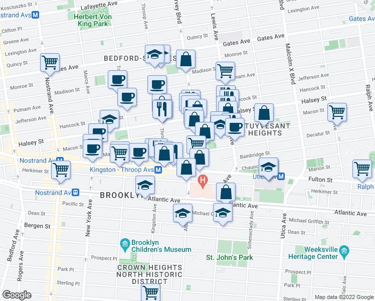 map of restaurants, bars, coffee shops, grocery stores, and more near Decatur Street in Brooklyn