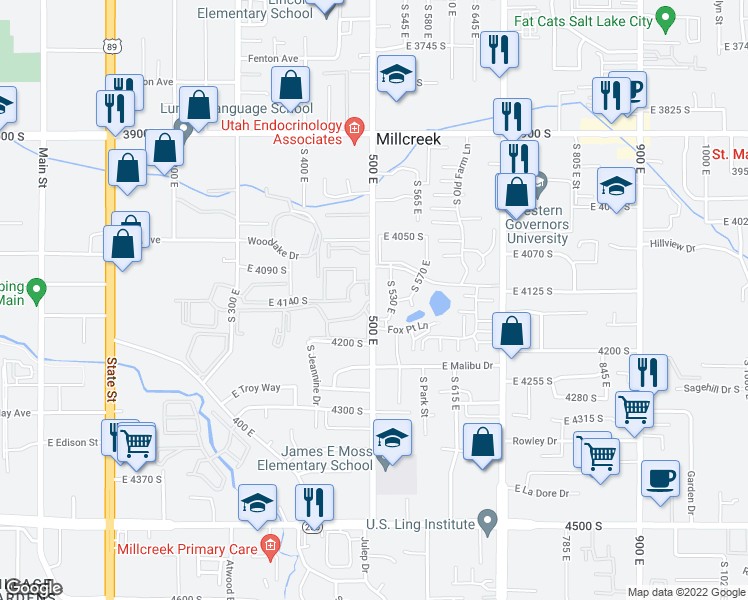 map of restaurants, bars, coffee shops, grocery stores, and more near 486-498 East Stonehedge Drive in Millcreek