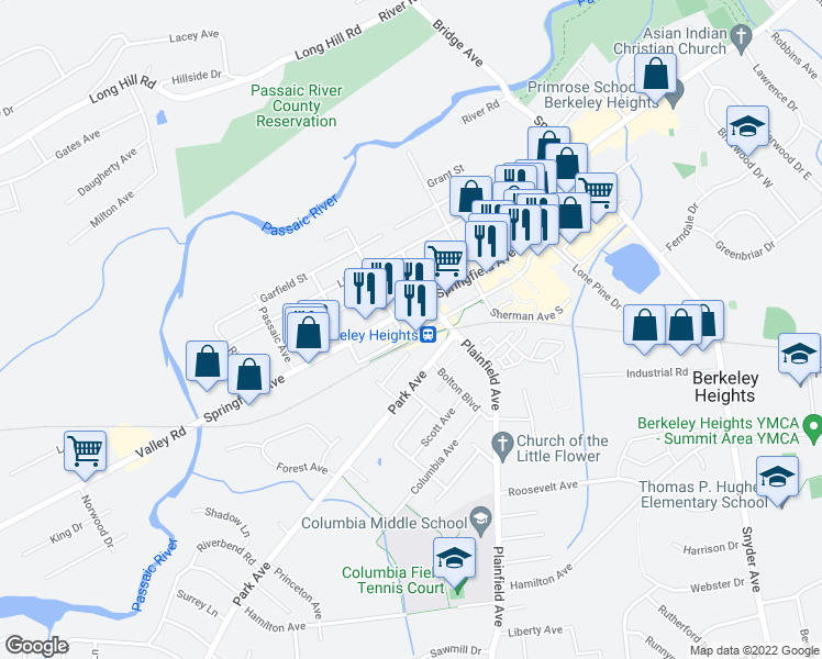 map of restaurants, bars, coffee shops, grocery stores, and more near 534-548 County Route 512 in Berkeley Heights