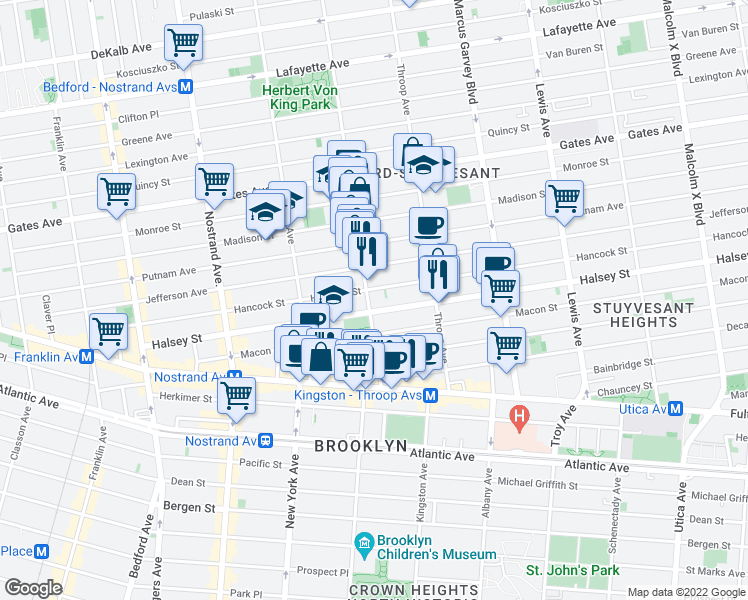 map of restaurants, bars, coffee shops, grocery stores, and more near 425 Tompkins Avenue in Brooklyn