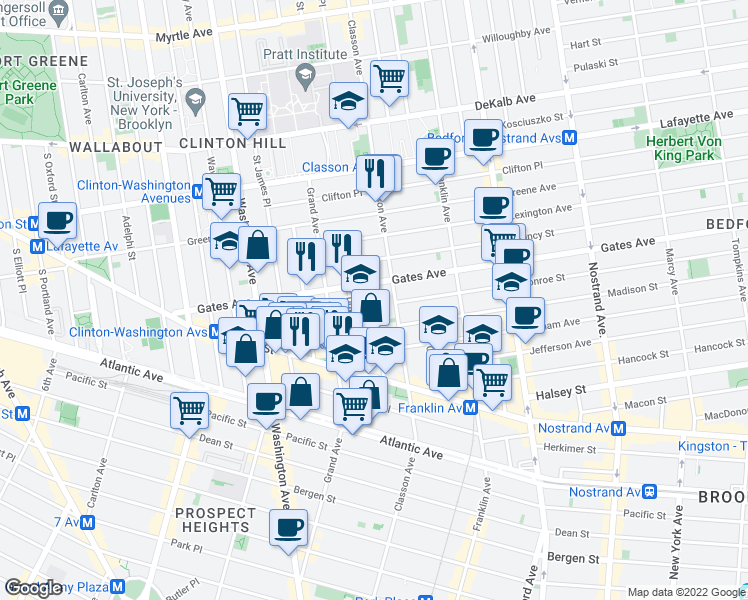 map of restaurants, bars, coffee shops, grocery stores, and more near 67-69 Downing Street in Brooklyn