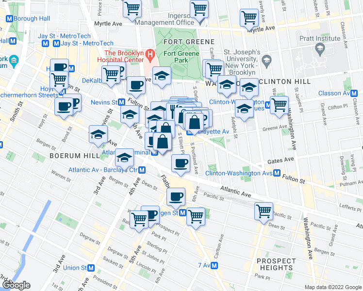 map of restaurants, bars, coffee shops, grocery stores, and more near 55 Hanson Place in Brooklyn