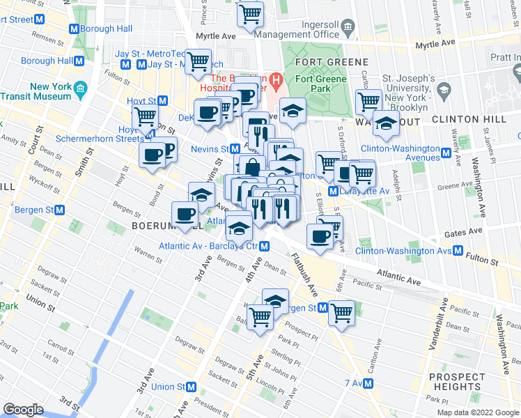 map of restaurants, bars, coffee shops, grocery stores, and more near 358-360 Dean Street in Brooklyn