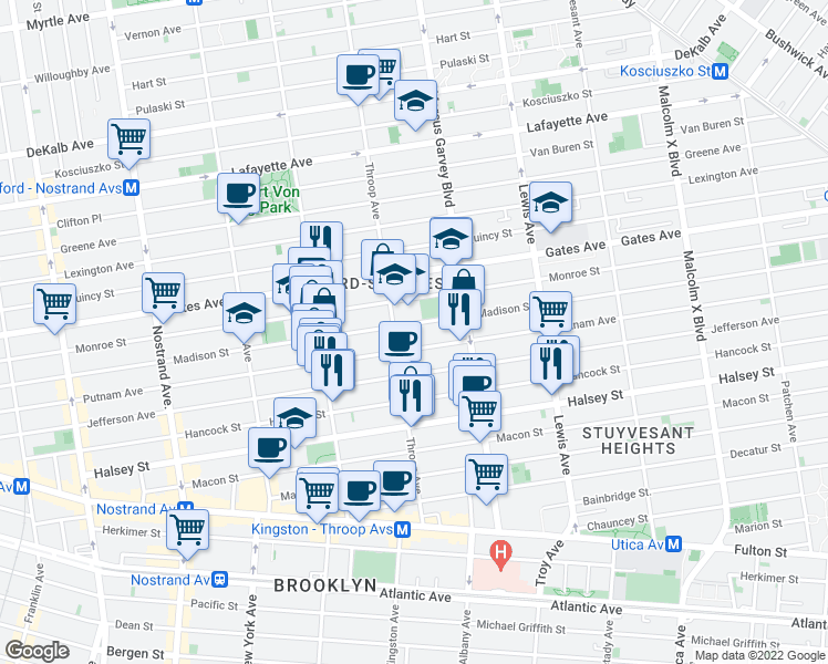 map of restaurants, bars, coffee shops, grocery stores, and more near 421-473 Madison Street in Brooklyn