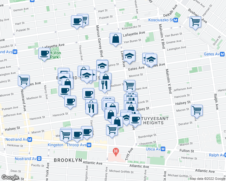 map of restaurants, bars, coffee shops, grocery stores, and more near 589 Putnam Avenue in Brooklyn