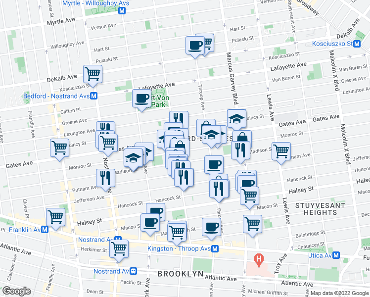 map of restaurants, bars, coffee shops, grocery stores, and more near 357 Monroe Street in Brooklyn