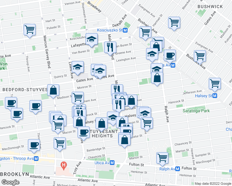 map of restaurants, bars, coffee shops, grocery stores, and more near 784 Putnam Avenue in Brooklyn