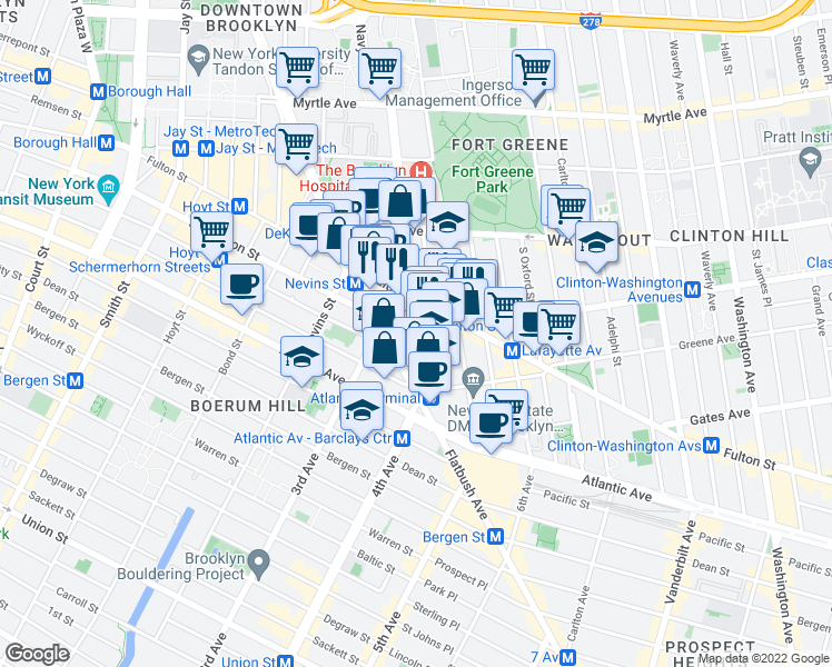map of restaurants, bars, coffee shops, grocery stores, and more near Ashland Place in Brooklyn