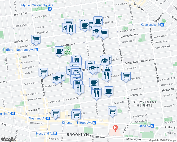 map of restaurants, bars, coffee shops, grocery stores, and more near 615 Gates Avenue in Brooklyn