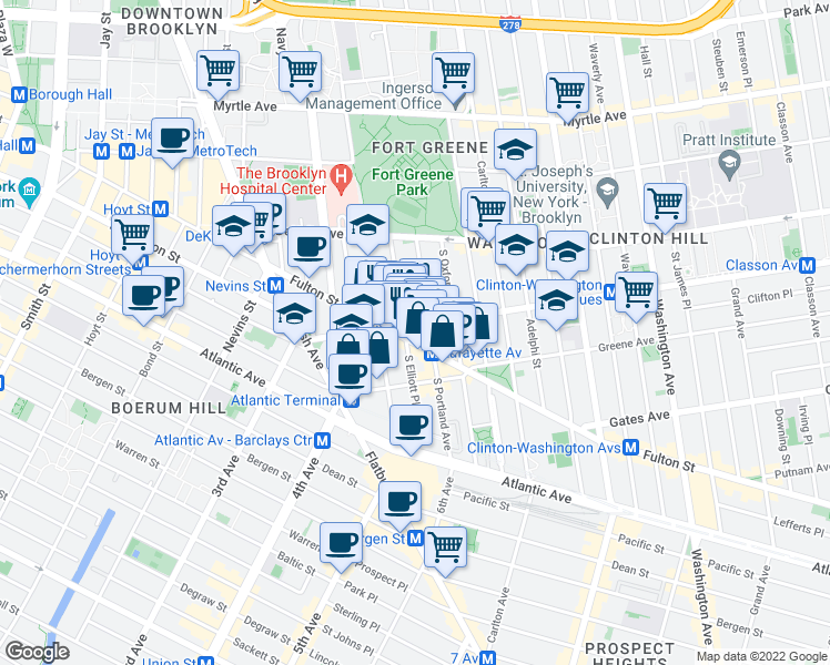map of restaurants, bars, coffee shops, grocery stores, and more near Lafayette Avenue in Brooklyn