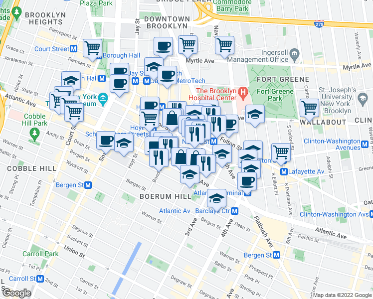 map of restaurants, bars, coffee shops, grocery stores, and more near 274 Schermerhorn St in Brooklyn