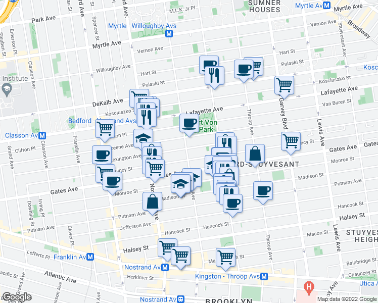 map of restaurants, bars, coffee shops, grocery stores, and more near 757 Marcy Avenue in Brooklyn
