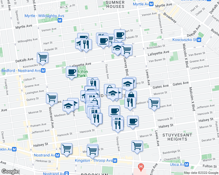 map of restaurants, bars, coffee shops, grocery stores, and more near 435 Throop Avenue in Brooklyn