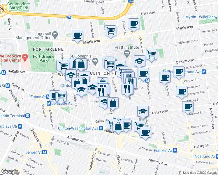 map of restaurants, bars, coffee shops, grocery stores, and more near 349 Washington Avenue in Brooklyn