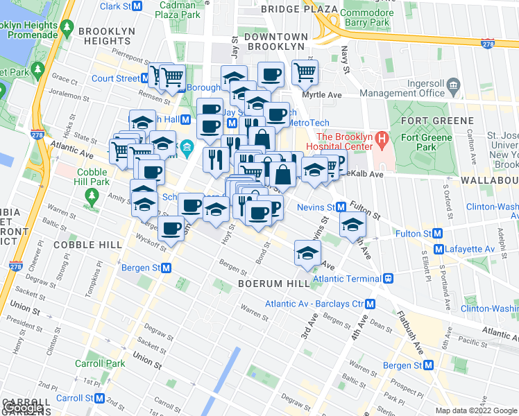 map of restaurants, bars, coffee shops, grocery stores, and more near 340 State Street in Brooklyn