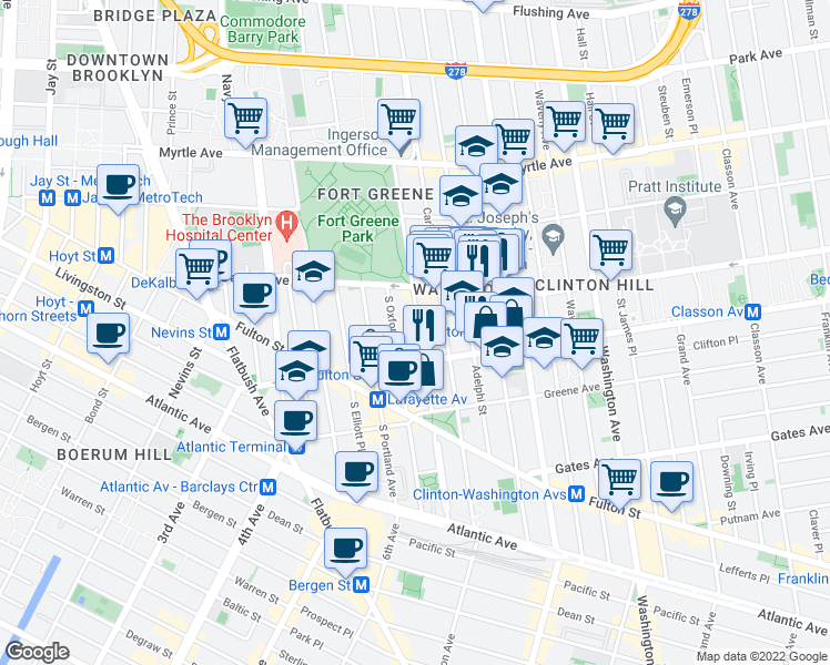 map of restaurants, bars, coffee shops, grocery stores, and more near 250 Cumberland Street in Brooklyn