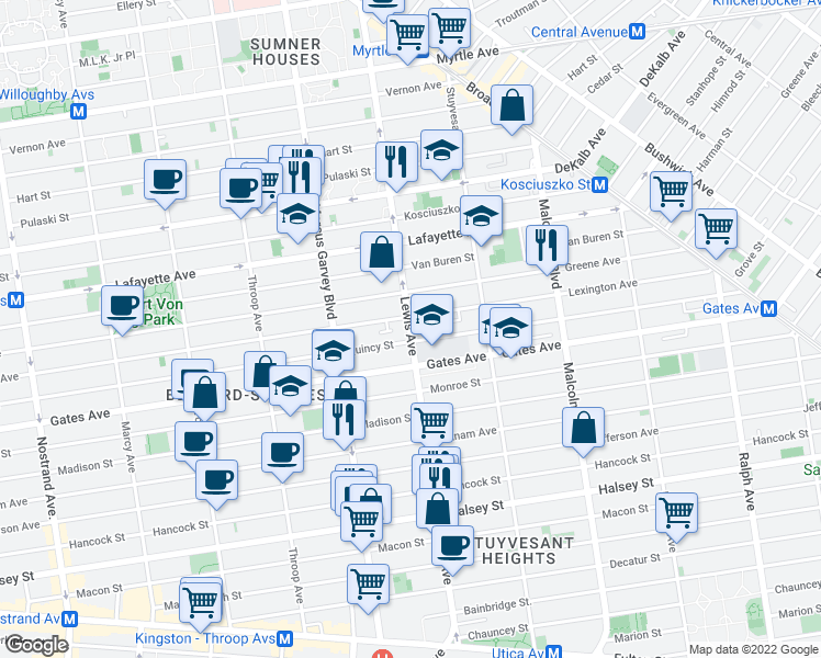 map of restaurants, bars, coffee shops, grocery stores, and more near Lewis Avenue in Brooklyn