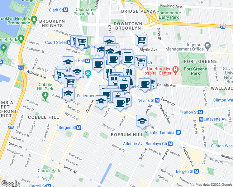 map of restaurants, bars, coffee shops, grocery stores, and more near Hoyt St & Schermerhorn St in Brooklyn