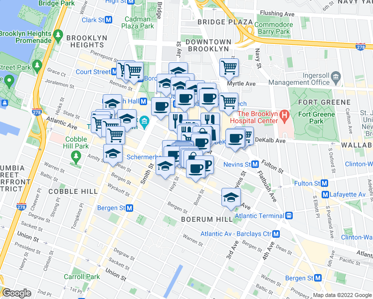 map of restaurants, bars, coffee shops, grocery stores, and more near 189 Schermerhorn Street in Brooklyn