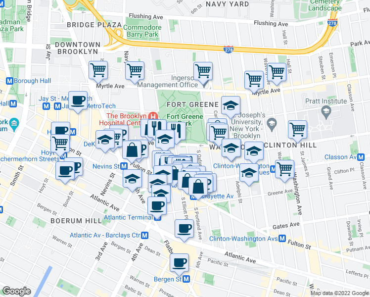 map of restaurants, bars, coffee shops, grocery stores, and more near 4 South Portland Avenue in Brooklyn