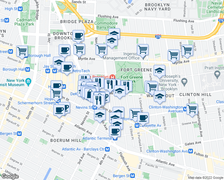 map of restaurants, bars, coffee shops, grocery stores, and more near Bushwick Avenue in Brooklyn