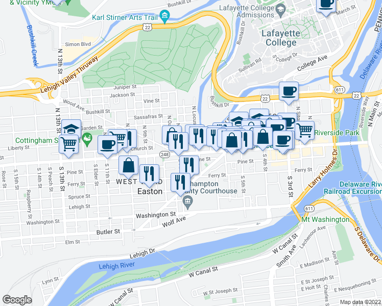 map of restaurants, bars, coffee shops, grocery stores, and more near 675 Pine St in Easton
