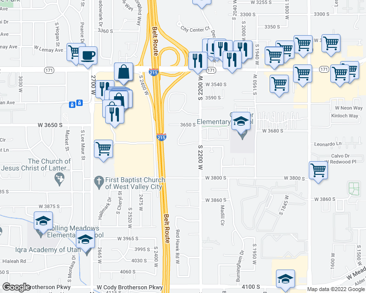 map of restaurants, bars, coffee shops, grocery stores, and more near 2200-2298 Lexington Park Drive in West Valley City