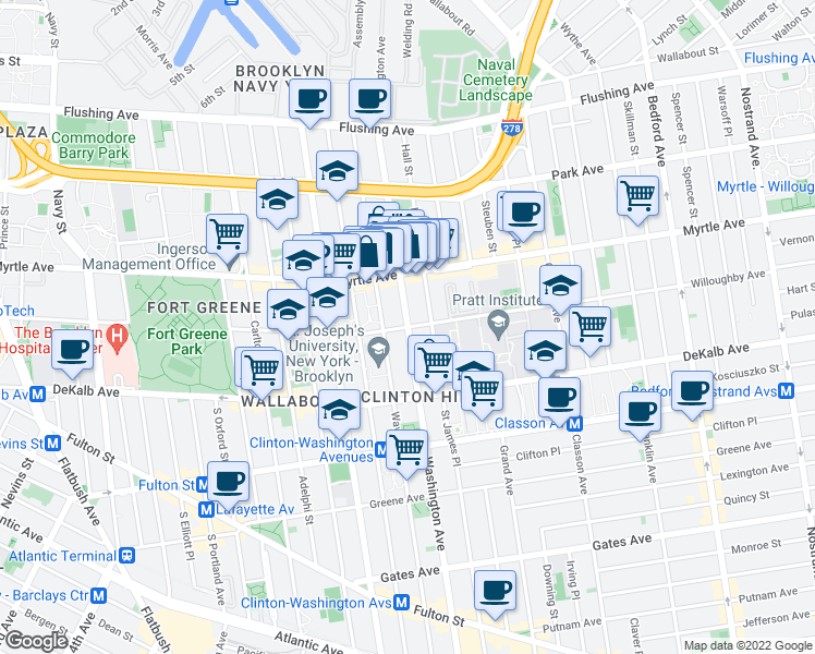 map of restaurants, bars, coffee shops, grocery stores, and more near Washington Avenue & Willoughby Avenue in Brooklyn