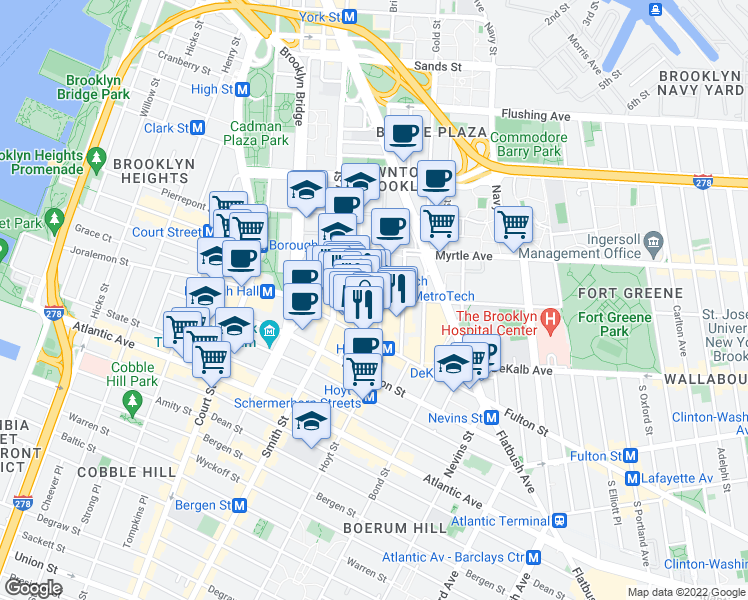 map of restaurants, bars, coffee shops, grocery stores, and more near 395 Bridge Street in Brooklyn