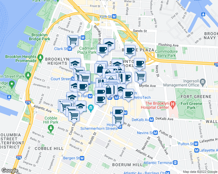 map of restaurants, bars, coffee shops, grocery stores, and more near 350 Jay Street in Brooklyn