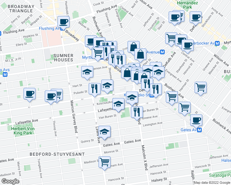 map of restaurants, bars, coffee shops, grocery stores, and more near 419 Pulaski Street in Brooklyn