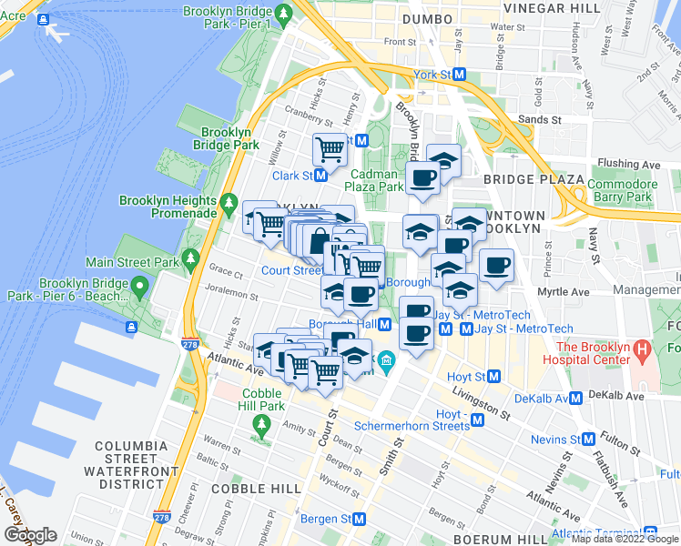map of restaurants, bars, coffee shops, grocery stores, and more near 50 Monroe Place in Brooklyn