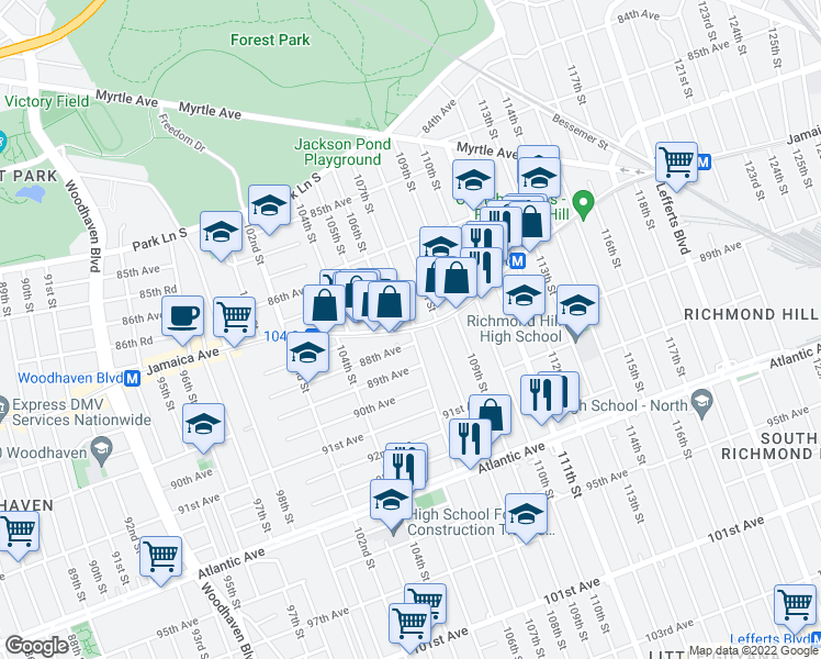 map of restaurants, bars, coffee shops, grocery stores, and more near 1077-10723 Jamaica Avenue in Queens