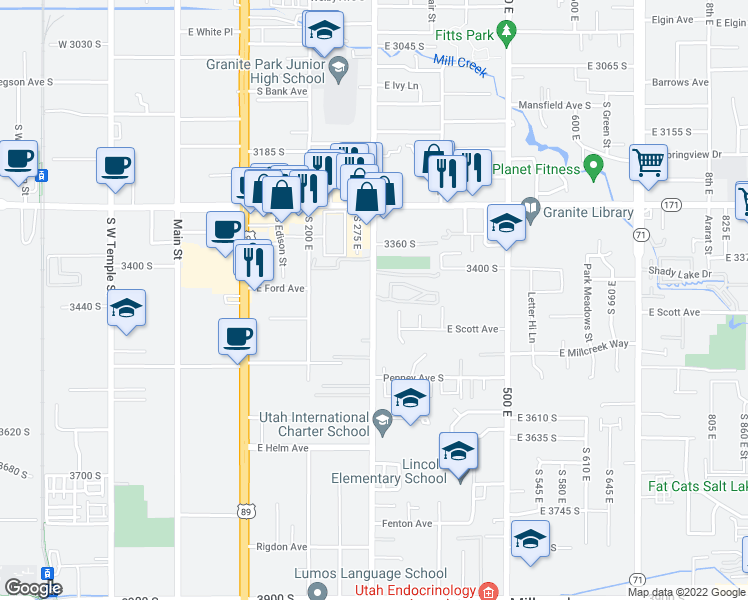 map of restaurants, bars, coffee shops, grocery stores, and more near 3440 South 335 East in South Salt Lake