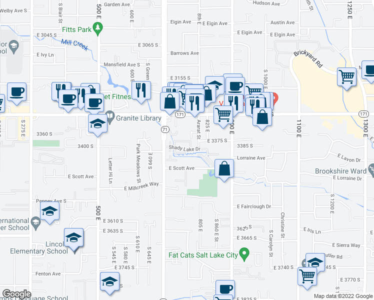 map of restaurants, bars, coffee shops, grocery stores, and more near 3379 Shady Ct in Salt Lake City