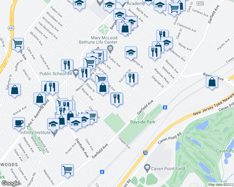 map of restaurants, bars, coffee shops, grocery stores, and more near 89 Van Nostrand Avenue in Jersey City