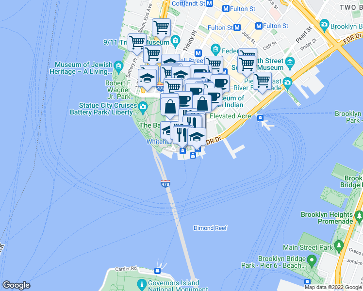 map of restaurants, bars, coffee shops, grocery stores, and more near 1 Staten Island Ferry in Staten Island