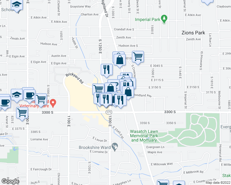 map of restaurants, bars, coffee shops, grocery stores, and more near 1350 Miller Avenue in Millcreek