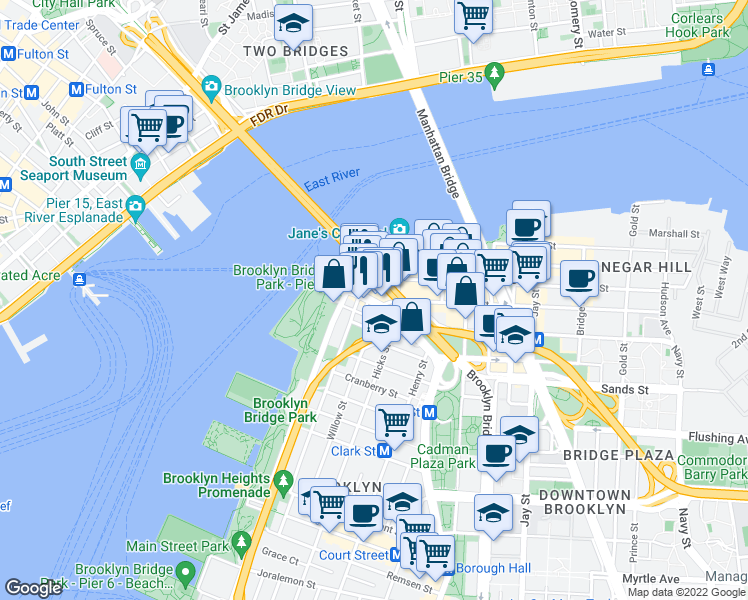 map of restaurants, bars, coffee shops, grocery stores, and more near 2-24 Front Street in Brooklyn