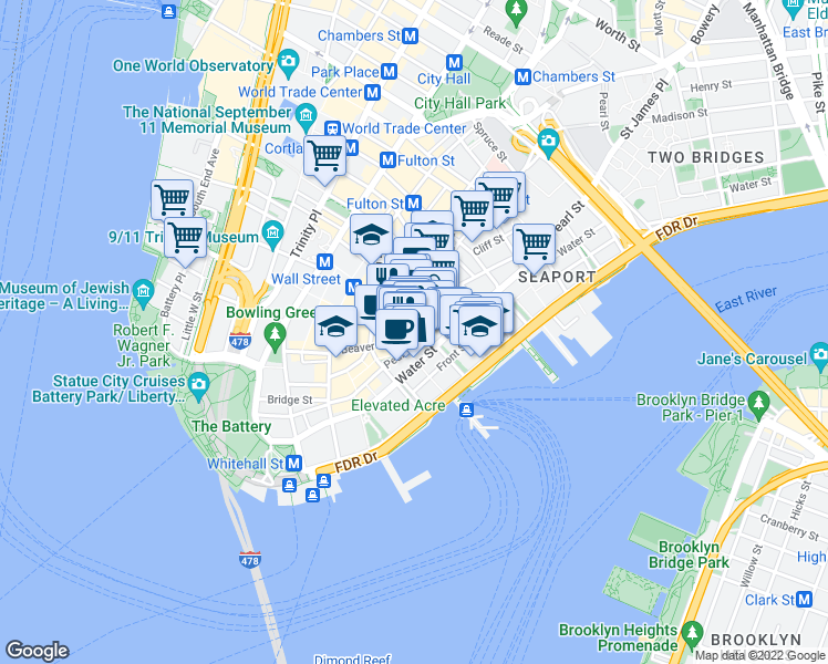 map of restaurants, bars, coffee shops, grocery stores, and more near 67 Wall Street in New York