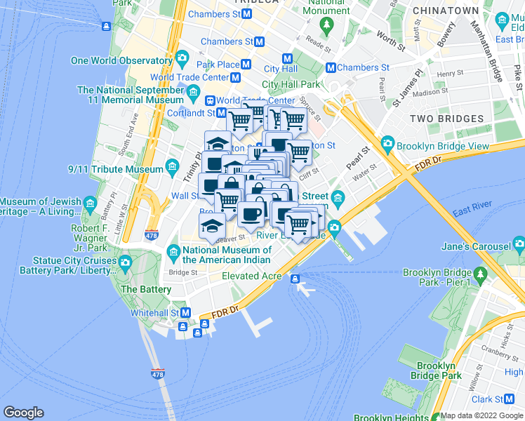 map of restaurants, bars, coffee shops, grocery stores, and more near Pine Street in New York