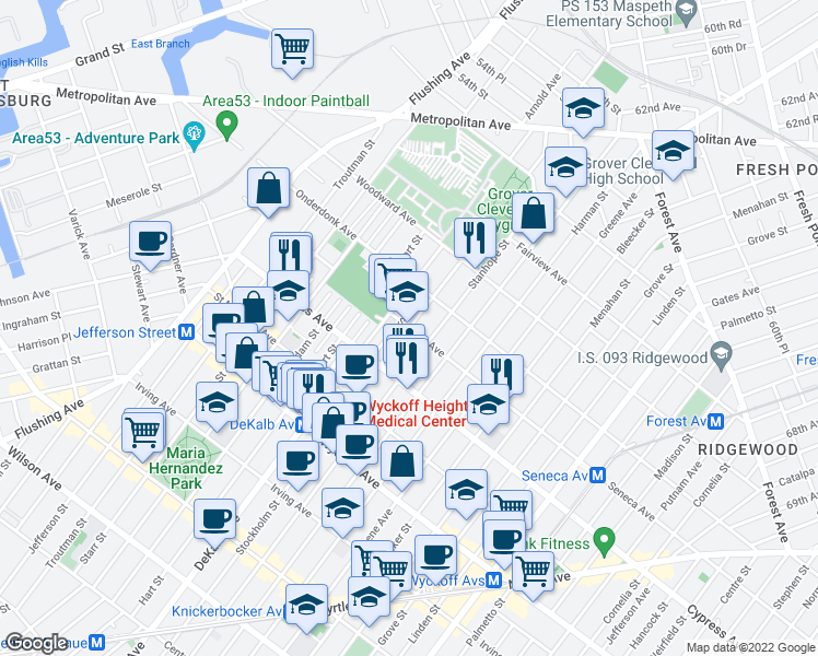map of restaurants, bars, coffee shops, grocery stores, and more near 4-58 Stockholm Street in Queens