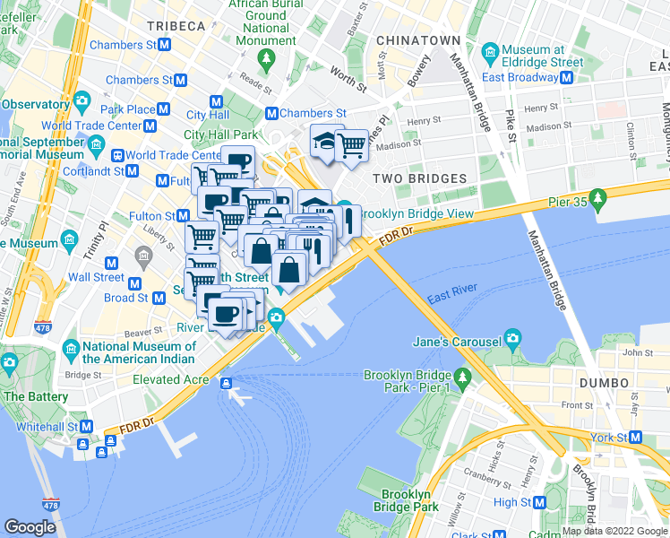 map of restaurants, bars, coffee shops, grocery stores, and more near E River Bikeway in New York
