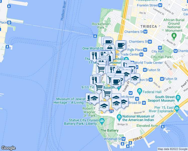 map of restaurants, bars, coffee shops, grocery stores, and more near 320 Albany Street in New York