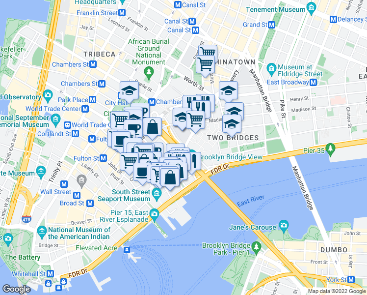 map of restaurants, bars, coffee shops, grocery stores, and more near Brooklyn Bridge Promenade in New York