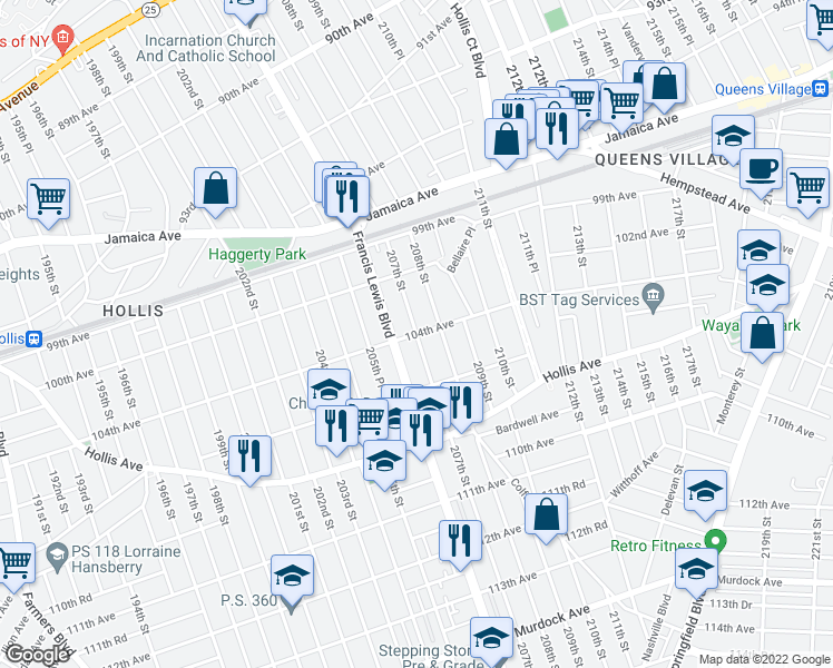 map of restaurants, bars, coffee shops, grocery stores, and more near 104th Avenue in Queens