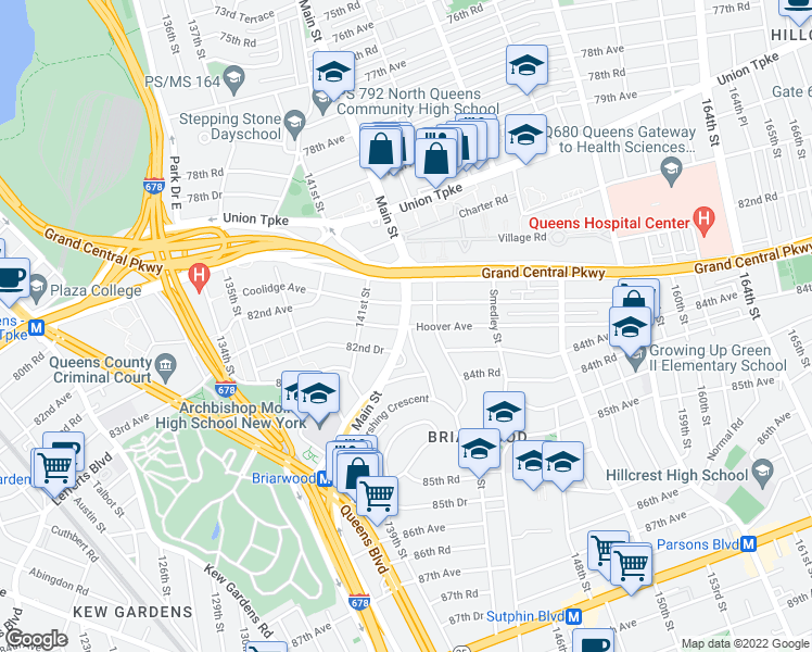 map of restaurants, bars, coffee shops, grocery stores, and more near Main St & Hoover Ave in Queens